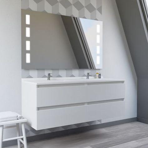 Meuble Double Vasque Arlequin 140x55 Cm Avec Plan Vasque Et Miroir Prestige Coloris Au Choix En 2020 Meuble Double Vasque Plan Vasque Et Double Vasque