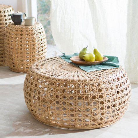Rattan Diamond Coffee Table Mobilier De Salon Meuble Rotin