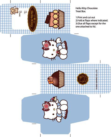 FREE Printable Hello Kitty Cupcake Box