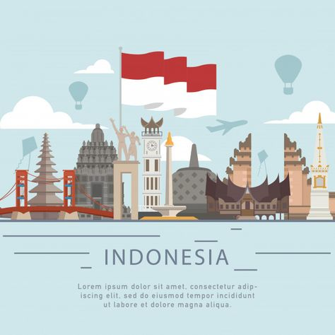 Greeting of indonesia independence day flat style Premium Vector