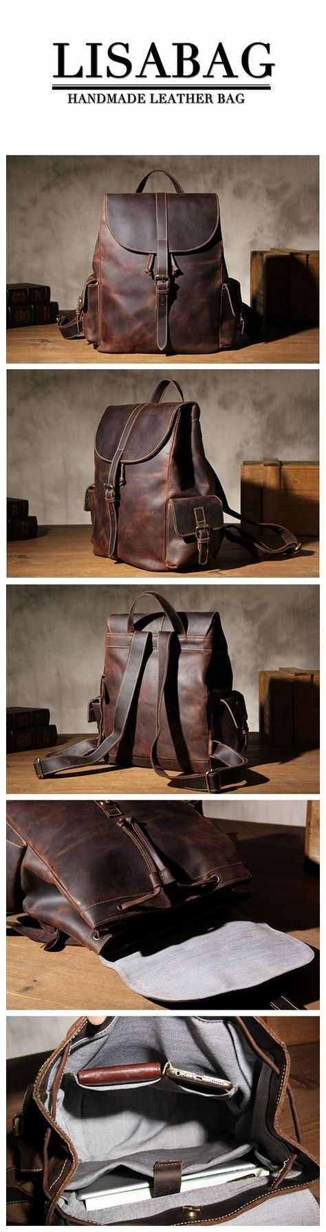 94f356d8d9 Vintage Full Grain Leather Travel Backpack Laptop Rucksack Cool Backpack  for Men YS09 - Vintage Brown