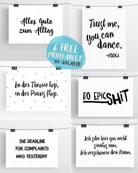 Ann.Meer by Anna-Maria Dahms: Free Printables: 6 Typo Freebies