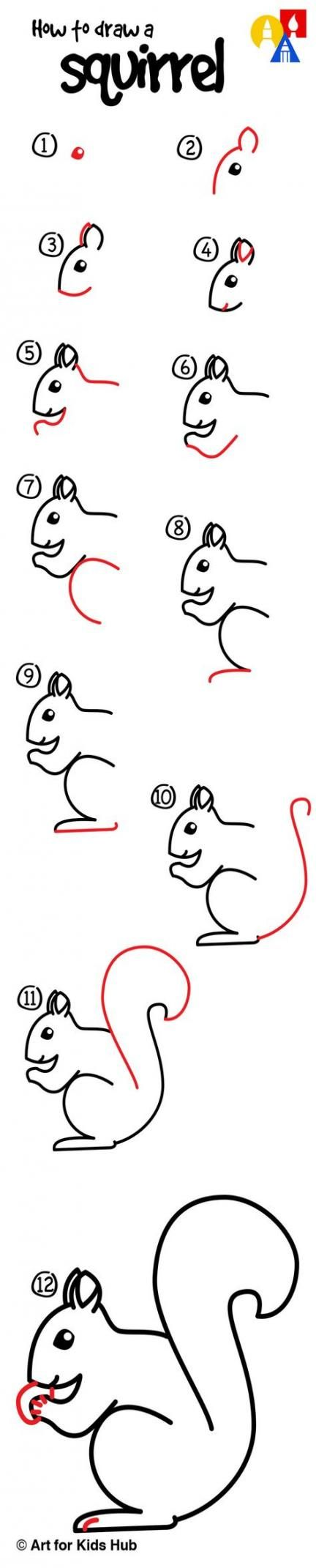 15 Ideas Drawing Animals Squirrel Drawing Art For Kids Hub Drawings Cute Drawings