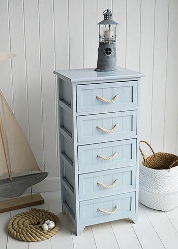 Tall Huntington Pale Blue Bathroom Cabinet With 5 Drawers For Nautical Bathrooms Nautical Bathrooms White Bathroom Drawers White Bathroom Furniture
