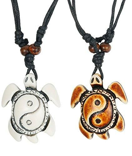 Yin /& Yang Turtle Necklace Black Rope Tortoise Pendant Mens Womens Surfer Charm