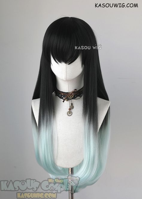 Kimetsu no Yaiba Demon Slayers Muichiro Tokito long straight black mint ombre cosplay wig Kawaii Hairstyles, Cute Hairstyles, Hairstyle Men, Casual Hairstyles, Men's Hairstyles, Medium Hairstyles, Latest Hairstyles, Celebrity Hairstyles, Braided Hairstyles