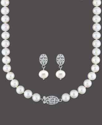 f49ecabd7 Sterling Silver Pearl Necklace and Earrings, Diamond Accent and Cultured  Freshwater Pearl Set - Necklaces - Jewelry & Watches - Macy's