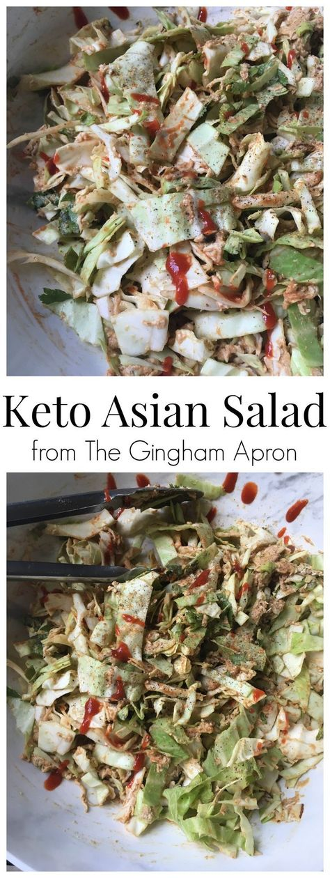 Keto Asian Salad- tangy, crunchy, bursting with Asian flavors, and sugar-free! You'll absolutely love this low-carb, keto, healthy salad. #keto #ketogeniclifestyle #ketofriendly #low-carb #nosugar #trimhealthymama #asianfood #chinesechickensalad #chinesesalad #spicyfood #sriracha #healthy