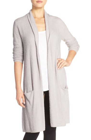 $130 Barefoot Dreams Long Cardigan in Silver, size XS/S | Nordstrom