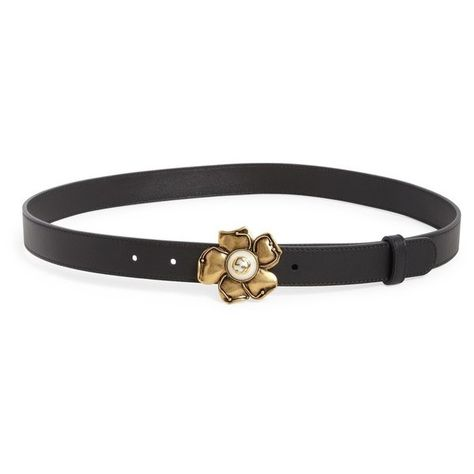 fd568e35529 Gucci Smooth Flower Buckle Belt ( 420) ❤ liked on Polyvore featuring  accessories