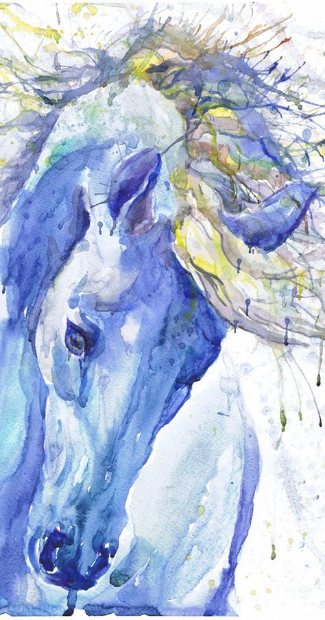 Blue Horse Head Watercolor Painting Abstract Equine Art Print