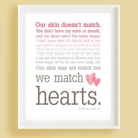 We Match Hearts - Pink Ombre Typography Wall Art - Adoption Quote. $15.00, via Etsy.