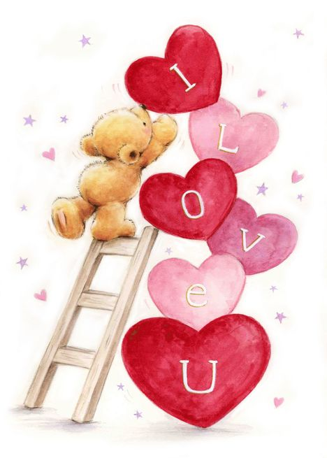 I Love You Cute Bear Climb Ladder To Place Hearts Card Ad Ad