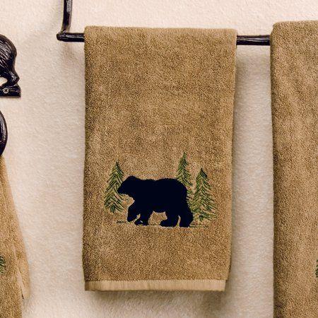 Black Bear Forest Hand Towel Cabin Bathroom Decor Walmart Com Cabin Bathroom Decor Black Bear Decor Cabin Bathrooms