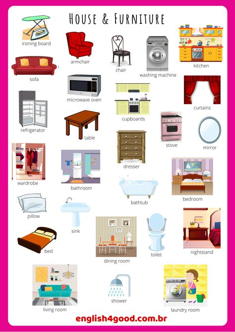 Let's practice some vocabulary: Home and Furniture Flashcards. Your students will be able to practice spelling, memory, or any other activity you like! Just download it! #eslvocabulary #eslflashcards #esl #flashcards   #eslteaching  #eslactivities #eslgames  #flashcardsfor kids #vocabularyactivities