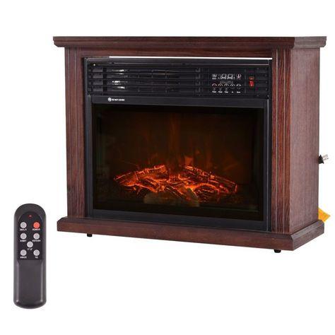 Adjustable Electric Fireplace Mantel Space Heater Fire Flame Fan