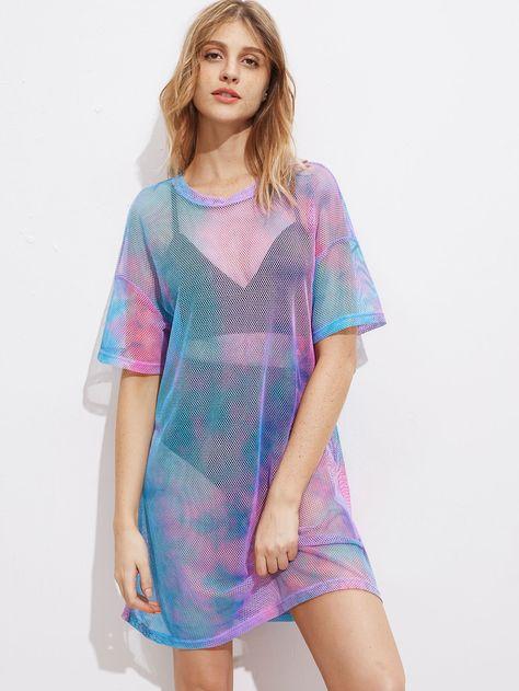Shop Drop Shoulder Tie Dye Fishnet Cover Up Dress online. SHEIN offers Drop Shoulder Tie Dye Fishnet Cover Up Dress & more to fit your fashionable needs.
