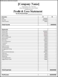 Printable Profit And Loss Template  Blank Profit And Loss