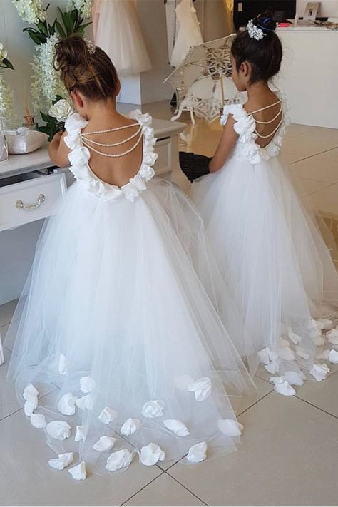 A-line Scoop Flowers Sweep Train Flower Girl Dress with Pearls