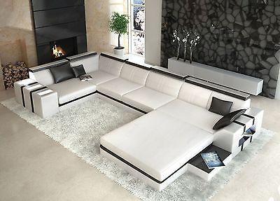 Designer Wohnlandschaft Asti U Form Weiss Schwarz Ledersofa In Mobel As Corner Sofa Design Modern Sofa Living Room Living Room Sofa Design