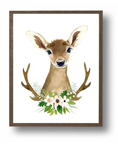 Aquarell Reh Hirsch Malerei Tier Bilder Blumen Geweih Tiere