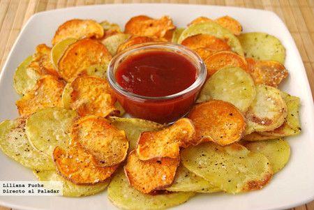 Chips Bicolores De Patata Y Boniato Receta De Cocina Fácil Sencilla Y Deliciosa En 2020 Boniatos Al Horno Recetas Con Batata Boniato Receta