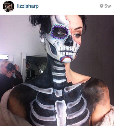 Day of the Dead makeup #halloween #sugarskull Half dead