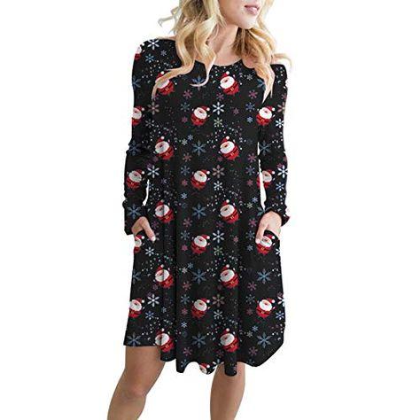 Weihnachtskleid Damen  Langarm Kleid mit Schneemann Weihnachtsmann  Rockabilly Festlich Kleid Swing Kleid Faltenrock Partykleid Christmas Dress  ... 9370549d0e