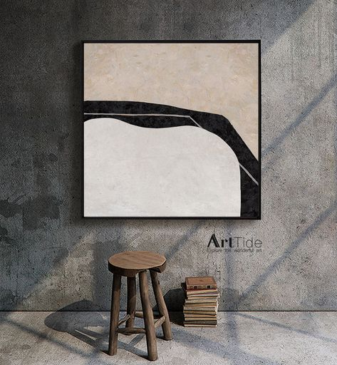 Cozyliving Room Colors: Black White Beige Minimalist Painting On Canvas,Textured