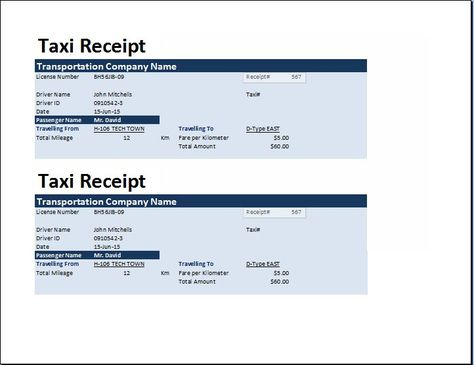 MS Excel Taxi Receipt Template Collection of Business Receipts - payment receipt