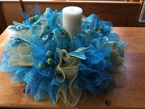 Table Centerpiece Candle Holder ANY COLOR Blue Silver Snowflake White Mesh