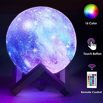 Toyuugo Moon Lamp 5 9 Inch Star Light Kids Night Light Galaxy Lamp 16 Colors Led 3d Star Lamp With Wood Stand Touch In 2020 Night Light Kids Star Lamp Night Light