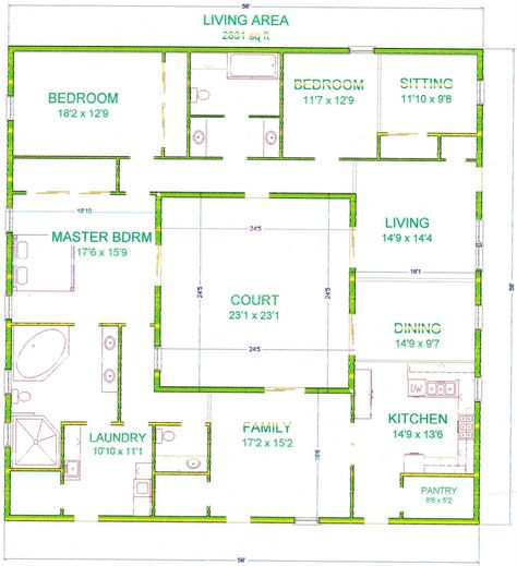 Center Courtyard House Plans | With 2831 Square Feet This Is One Of My  Bigger Houses I Chose To Make ... | House Plans | Pinterest | Courtyard House  Plans, ...