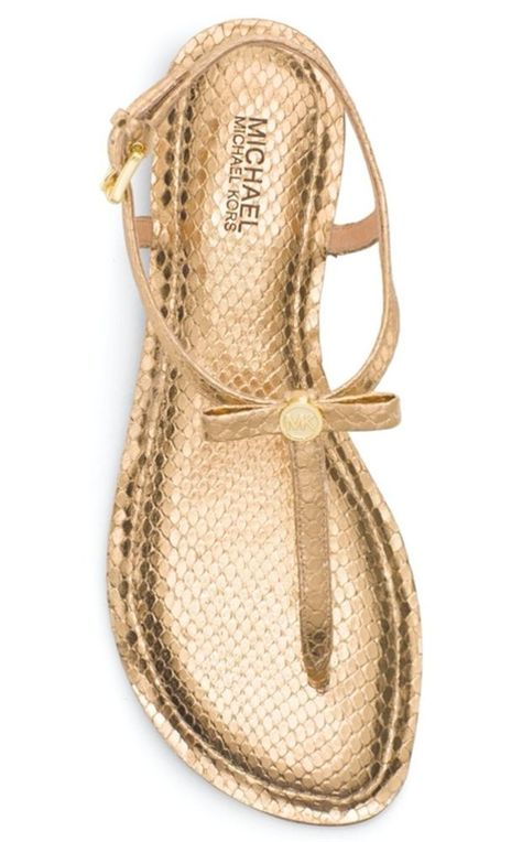 6ab70d79e327a Michael Kors Josie Embossed Leather Thong Sandal Pale Gold Size 9M   MichaelKors  ThongSandals