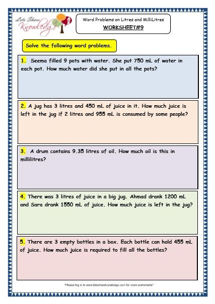Measurement Of Capacity Word Problems On Litres And Millilitres
