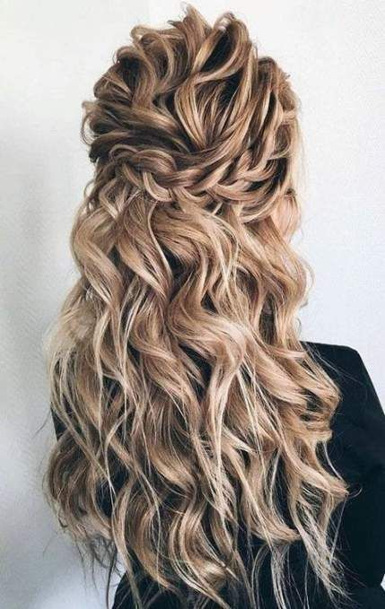 Best Wedding Hairstyle Half Up Half Down Braided Hairstyles For Wedding Medium Hair Styles Curly Hair Styles Naturally