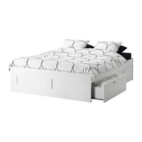 Brimnes Bed Frame With Storage White Queen Letto Ikea Letto