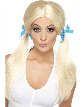 Adult Ladies Wigs Wig Plaited Pigtails Oktoberfest Schoolgirl Womens Fancy Dress