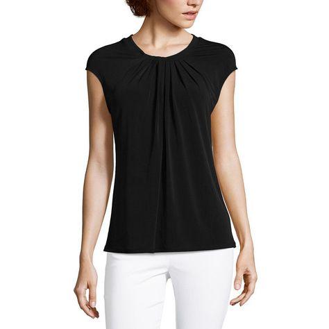 c2486f87d9157d Liz Claiborne Cap Sleeve Twist Neck Knit Blouse