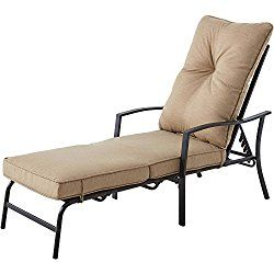 Mainstays Forest Hills Cushioned Chaise Lounge Tan Pool Patio