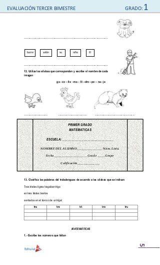 Examenes De Primaria Examenes De Primaria Primer Grado De Primaria Examenes