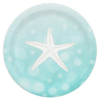 Teal Beach Themed Starfish Paper Plates Zazzle Com With Images