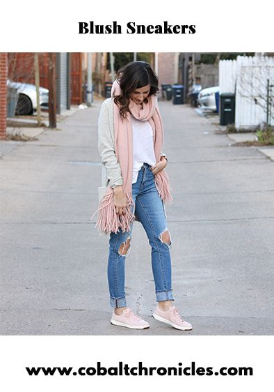 blush pink sneakers outfit