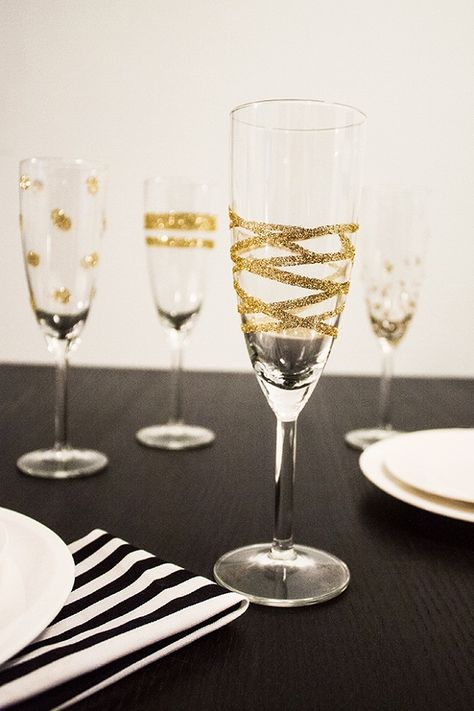 Glittered/rhinestoned champagne flutes for bride (and groom?)
