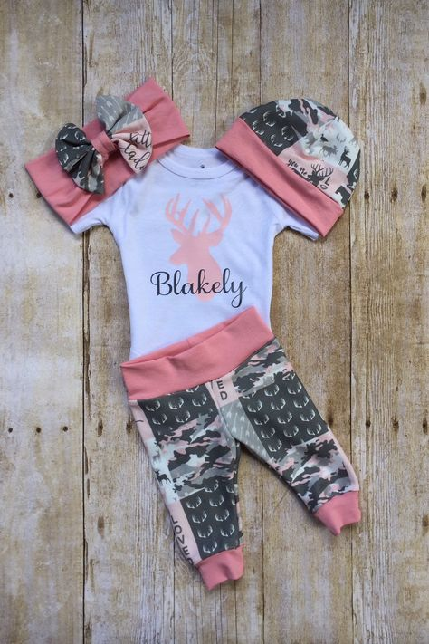 f2dff4c02 Pink Camo Deer Coming Home Outfit