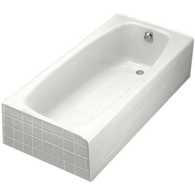 Kohler Dynametric 5 5 Ft Right Hand Drain Cast Iron Integral Farmhouse Apron Bathtub In White Soaking Bathtubs Traditional Bathtubs Bathtub