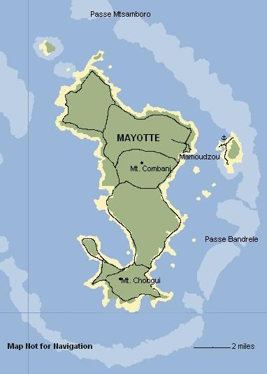 Map Of Mayotte Comoros Islands Not For Navigation Sites - Comoros map