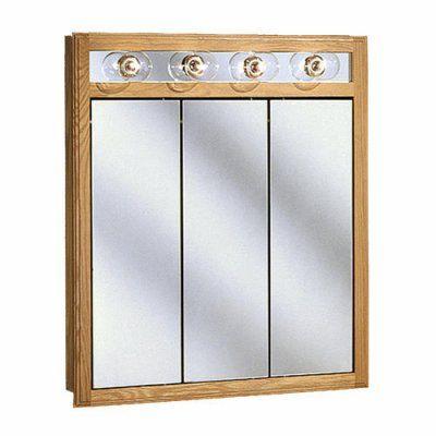 37 5 In X 36 In Golden Lights Oak Surface Mount Medicine Cabinet