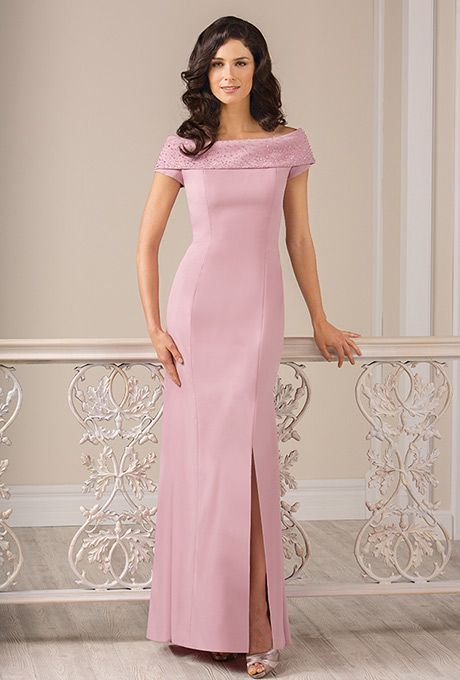 Jade by Jasmine. Off-the-shoulder crepe sheath gown with beaded neckline.