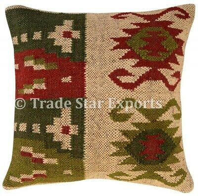 Indian Vintage Kilim Cushion Cover 18x18 Handwoven Jute Throw Rustic Pillow Case